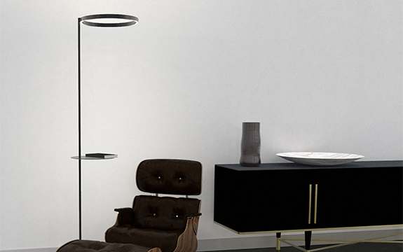 Mudō lighting system, with shelf, in a living space